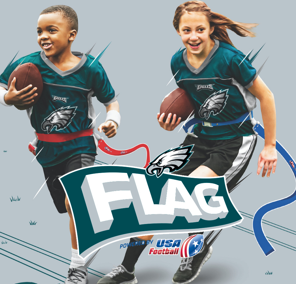 Kids in Philadelphia Eagles Football Jerseys Playing Flag Football
