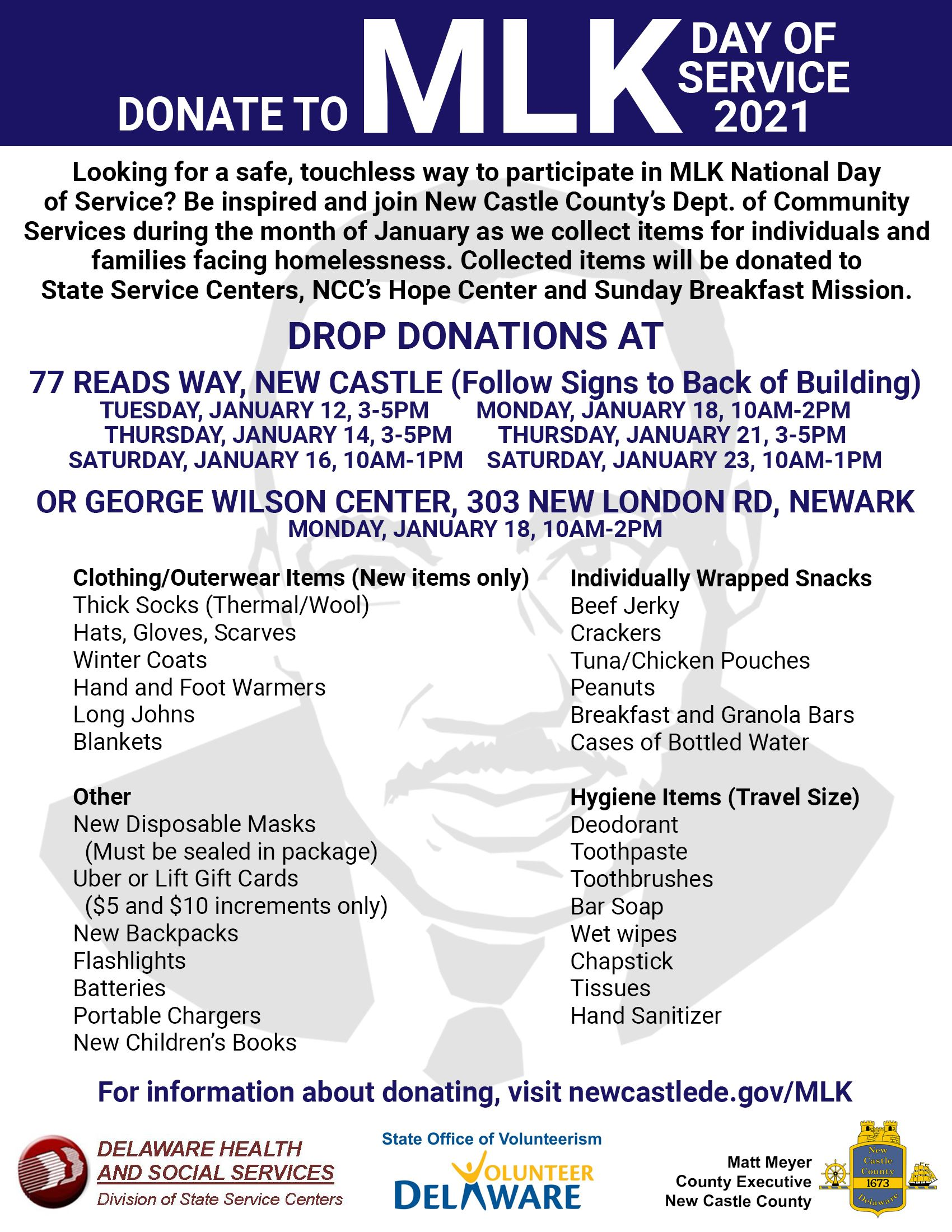 MLK Day of Service 2021 flyer
